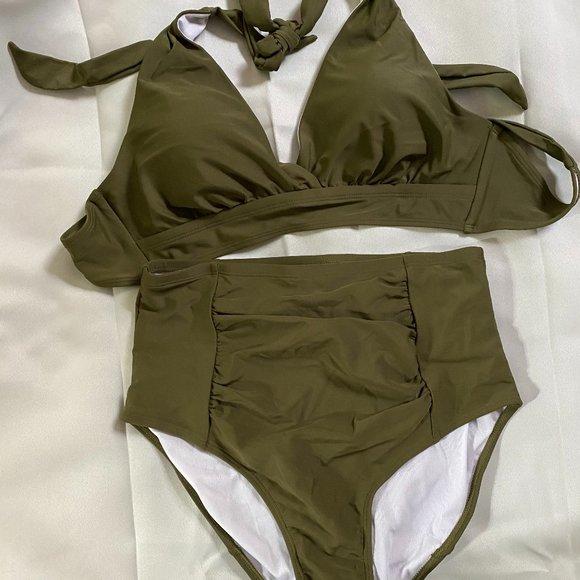 luvamia Womens Halter Self Tie Ruched High Waist Two Piece Bikini Set Swimsuits